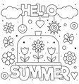 hello summer coloring page black and white vector image vector image