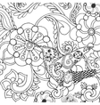 Hummingbird in fantasy flowers vector image