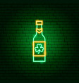 irish beer bottle neon sign vector image