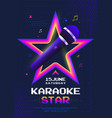 karaoke star night poster design with microphone vector image vector image