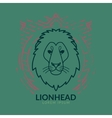 Lion head logo in frame vector image