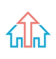 Logo combination of arrow up and house vector image
