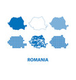 map of romania - set of silhouettes vector image