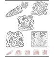 maze leisure game set vector image