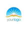 open book sun shine education logo vector image vector image