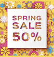 origami yellow spring sale flowers banner paper vector image