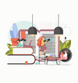 reading books concept flat style design vector image