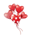 Red hearts-balloons in the blue sky vector image