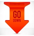 Red realistic plastic down arrow vector image