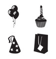 set of birthday icons vector image