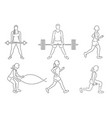 set of fitness girls and man icon running vector image