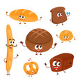 Set of funny bread bakery characters with human vector image