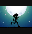 silhouette of girl jogging in park vector image