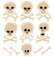 skull and cross bones set vector image vector image