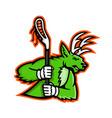 stag deer lacrosse mascot vector image vector image
