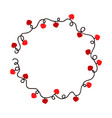 tangled wire round frame with red heart lights vector image vector image