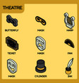 theatre color outline isometric icons vector image vector image