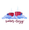 two vinous mugs in knitted scarf composition 2 vector image vector image