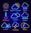 weather neon label set vector image vector image