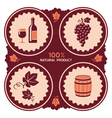 Wine label with grape and barrel icons vector image vector image
