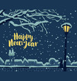 winter cityscape with cat on fence under lantern vector image vector image