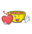 with heart soup union mascot cartoon vector image vector image