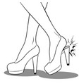 woman broke heel on her red shoes coloring vector image vector image