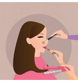 woman girl make up preparation hand holding brush vector image