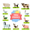 farm animals set in flat design vector image
