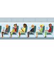 Aircraft passengers on the flight vector image