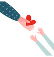 adult hand give red heart symbol to young chidish vector image vector image