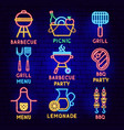 barbecue neon label set vector image