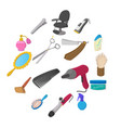 barber shop cartoon icons vector image