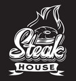 black and white template for steak house vector image vector image