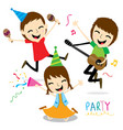 boy and girl enjoy party cute cartoon vector image