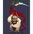 cartoon aggressive man viking with a banner vector image