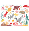 cartoon marine life sea world animal underwater vector image vector image