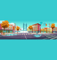 city crossroad in autumn time empty intersection vector image vector image