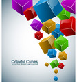 Colorful 3D cubes background with copy space vector image