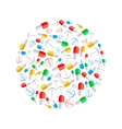 Colourful pills in circle shape isolated on white vector image vector image