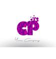 cp c p dots letter logo with purple bubbles vector image vector image