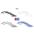 Cuba outline map set vector image vector image