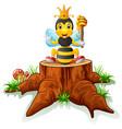 cute bee posing on tree stump vector image vector image