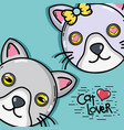 cute cat couple animal design vector image vector image
