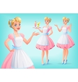 Cute smiling housewife in apron in various poses vector image vector image