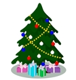 Decorated Christmas tree with gifts vector image vector image