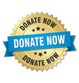 donate now 3d gold badge with blue ribbon vector image vector image