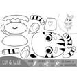 education paper game for children dancing zebra vector image vector image
