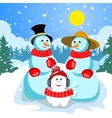Family snowmen Dad mom and son vector image