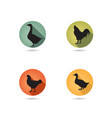 farm birds silhouette animals set livestock icons vector image